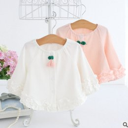 Wholesale Cute Toddler Girl Coats - 2018 New Baby girls lace outwear toddler tiered ruffle coat spring girl cute knit cherry single breasted out wear kids cotton tops R1870