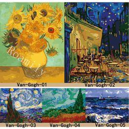 óleo, abstratos, pintura, girassóis Desconto ROAMILY, Pintura Por Números, Série Van Gogh Famosa Pintura A Óleo Girassóis, Noite Estrelada, Pintura A Óleo Abstrata DIY Pintura Acrílica