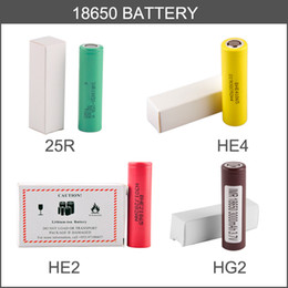 Wholesale E Max Cig Batteries - 18650 battery HG2 3000MAH HE4 HE2 2500mAh Max 35A High Drain INR18650 25R VTC4 VTC5 VTC6 30Q Lithium Battery fit E cig kit