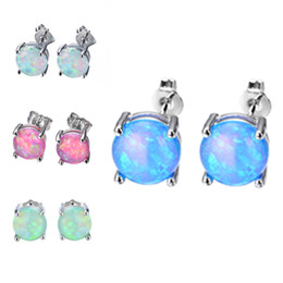 Wholesale Opal Stud Earrings Sterling Silver - 6MM S925 Sterling Silver Earrings Round Opal Pendant Stud Earring Fashion S925 Silver Jewelry for Girls Mother's Day Gifts