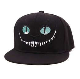 Wholesale Cat Snapback - Baeybe Alice's Adventures in Wonderland Cheshire cat men women snapback anime embroidered hip hop baseball cap sun cap hat