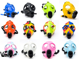 Wholesale Luminous Masks - Silicon Mask Luminous Solid Colored Masks Mixed Colored Mask Party Gas Mask For Bong Dab Rig Filter DHL 125