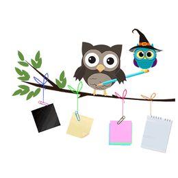 Wholesale Owl Wallpaper - PVC Cute Cartoon sticker Owl Tree Wall Stickers for Kids Bedroom Kindergarten Home Decor Sofa Living Wallpaper Art Wall Decals
