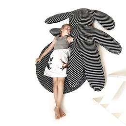 Wholesale carpets for children - baby play mat big rabbit toy black striped children room decor cotton crawling carpet Size big gray stuffed toy for girls room