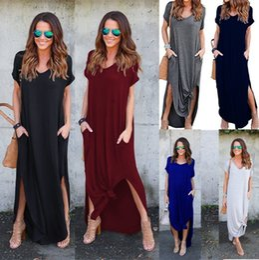 Wholesale Baggy Summer Dresses - Loose Casual V Neck Split Baggy Pocket Long Maxi Dress short sleeve Plus Size Beachwear Spaghetti Strap Sundress
