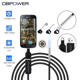 Wholesale Mp Endoscope - DBPOWER 2 MP 8.5MM Lens USB Endoscope 15M 7M 5M HD Inspection Mini Camera Borescope Snake Video Cam 6LED Night Vision With OTG
