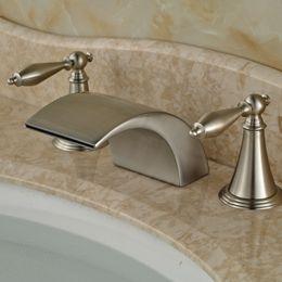 Wholesale Deck Mounted Tub - Classic Deck Mount Widespread 3pcs Bath Tub Sink Faucet Bathroom Dual Handle Basin Mixer Taps