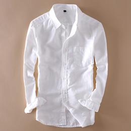7ab7adfa9486b Zarif Erkek Uzun Kollu Keten Gömlek Slim Fit Turn-aşağı Yaka Yumuşak Gevşek  Ince Giysiler Klasik Beyaz Gömlek Plaj Giyim