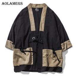Wholesale Mens Linen Shirts - Aolamegs Men Shirt Kimono Japanese Harajuku Patchwork Mens Shirt Linen Retro Origin Casual Fashion Streetwear Cardigan Outwear