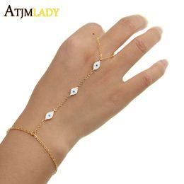 braceletes escravos Desconto 3 cores 2017 nova minúsculo bonito mal olho charme esmalte branco moda jóias 16 + 5 cm pulso bebê jóias pulseira de mão, escravo pulseiras