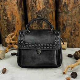 aa26929746c0 Vintage Cool Rivets Studs Designer Genuine Leather Dark Gray Women s Purse  Retro Cowhide Ladies Shoulder Bag Female Punk Handbag
