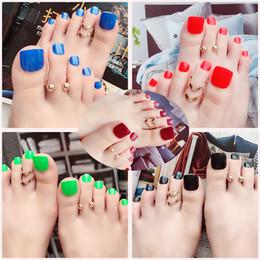 Pies de uñas online-Zouyesan envío gratuito 2019 Use una manicura terminada Caja de 24 piezas Pie falso uñas Color puro Parche de uñas acabado