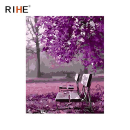 paint number wall art UK - RIHE Park Chair Diy Painting By Numbers Purple Tree Oil  sc 1 st  DHgate.com & Shop Paint Number Wall Art UK | Paint Number Wall Art free delivery ...