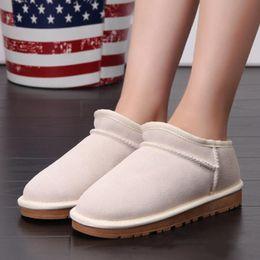 2019 botas de invierno de gran tamaño para mujer botas de diseñador al por mayor U damas clásicas australianas 100% cuero de felpa G botas de nieve zapatos de interior unisex zapatos de invierno de mujer talla grande 34-42 botas de invierno de gran tamaño para mujer baratos