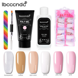 Wholesale Color Nail Lacquer - Skin Color Poly Gel Kit Nail Builder Gel Varnish Polish Polygel Quick Nail Extension Hard Gel UV Lacquer Slip Solution Nail Art
