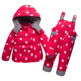 967978874a Russia Winter Children Clothing Sets Jumpsuit Snow Jackets Pant 2pcs Baby  Boy Duck Down Coats Jacket snow wear kids Girl clothes