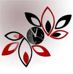 2019 artisanat de feuille à la main Livraison Gratuite En Gros 3D DIY Quartz Horloge Murale Art Miroir Acrylique Feuilles Sticker Mural Décor À La Maison