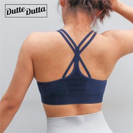75fe95772088f Criss Cross Back Yoga Tops Bra Fitness Hollow Out Top Blue Sport Bra For  Women Removable Padded Sports Push Up High Impact