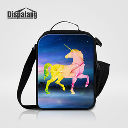 Wholesale Lunch Bag Ice Pack - Creative Unicorn Print Children Fashion Lunch Box Storage Women Small Canvas Food Messenger Bag For Work Student School Cooler Bag Ice Packs