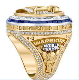 Wholesale alloy shipping - 2017 2018 Warriors Championship ring Jewelry Men Fans Collect Souvenirs MVP Durant Finger ring Wholesale High quanlity AAA+ Drop shipping