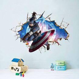portas de vidro de janelas de arte Desconto * Vingadores filme 3D Através adesivo de Parede popular super hero sala decalque da parede do presente do menino quarto mural art roll poster