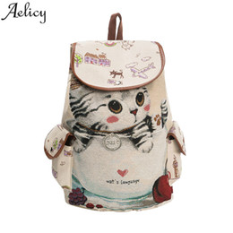 Рюкзак большой рюкзак онлайн-Aelicy  School Backpack Women Lovely Cat Printing Drawstring Backpack Large Capacity Canvas Schoolbag For Girls Rucksack