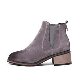 Wholesale Leather Ladies Riding Boots - Ladies Fashion Warm Comfortable Winter Spring Outdoor Riding Suede Round Toe Block Heel Women Chelsea Ankle Boots