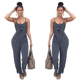 5a738c2e1657 Elegant Striped Sexy Spaghetti Strap Rompers Womens Jumpsuit Sleeveless  BacklessBow Casual Wide Legs Jumpsuits Leotard Overalls