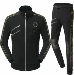 Wholesale Cotton Motorcycles - Hot Sale Tracksuit Jackets Pants Set Fashion Tracksuits For Men Sports Suits Skull Slim Hoodies Clothing Track Suit Medusa Sportswear