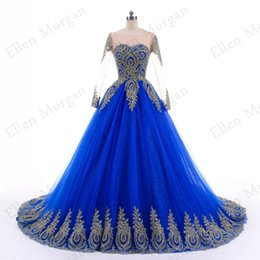Wholesale Vintage Photography - Blue Lace Ball Gowns Wedding Dresses for Women Puffy African Black Girls Gold Lace Long Sleeve Puffy Colorful Photography Bridal Gowns 2018