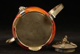 Wholesale Yellow Jade Carving - Chinese handwork old Red jade bracelet inlay tibet-silver dragon teapot