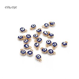 Wholesale handmade bracelets connectors - 30pcs Gold Silver Lucky Evil Eye Beads Pendent connector jewelry accessories Beads Bracelet Necklace Charms For Diy Handmade