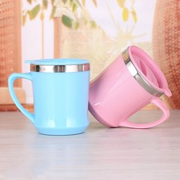 Wholesale office auto - Auto Cup Inner Steel Outer Plastic Mug Water Tumbler Office Gift Pink Blue With Handle Cover Non Slip Fashion 5 3tr V