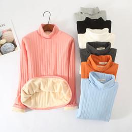 Футболка с длинными рукавами онлайн-Autumn Winter Turtleneck T Shirt Women Long Sleeve Thick Velvet T-Shirts Tees Female Cotton Underwear Bottoming Shirt Tops S1528