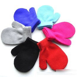Wholesale Black Kid Gloves - kids gloves knitting warm glove children boys Girls Mittens Unisex Gloves 6 Colors C1718