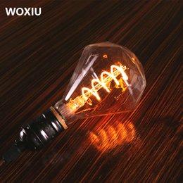 Deutschland WOXIU führte Retro Edison Glühbirne einzelne wicklung Filament Lampe Vintage Glas diamant 4 watt Für Cafe Shop motel restaurant dekoration Versorgung
