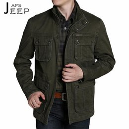 Wholesale Cargo Jackets - AFS JEEP 100% Pure Cotton Man's Stand Collar Solid Casual Cardigan Jacket,Widen Man's Militar Pockets Cargo Long Outwears male