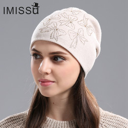 bf6afaa364e6e Discount crystal beanie - IMISSU Women s Winter Hats Knitted Real Wool  Beanie Casual Hat with Crystal