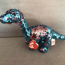 """Ty Beanie Boos 6 """"15cm colorato blu dinosauro peluche Regular Soft Big-eyed farcito collezione di animali bambola giocattolo da"""