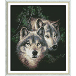 Wholesale Canvas Painting Set Two - Two wolves (2) Cross Stitch Kits 11CT Printed Fabric 14CT Canvas DMC Counted Chinese Cross-stitch set Embroidery Needlework