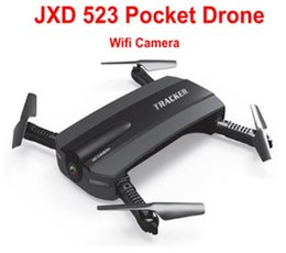 Wholesale Jxd Wifi - JIN XING DA JXD Selfie Drone 523W Jxd523 Foldable Mini Rc Quadcopter Helicopter Drone With Wifi FPV HD Camera VS jjrc h37 h31