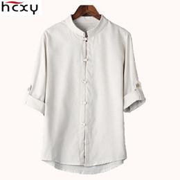 2019 stil berühmte marke baumwolle männer HCXY chinesischen Stil Leinenhemd Herren Bluse neue große Werften 7 Punkte Hülse Baumwollhemd M-5XL berühmte Marke Männer Shirts 2017 S917 günstig stil berühmte marke baumwolle männer