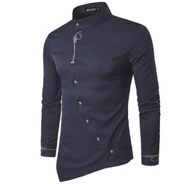 Wholesale Male Shirt Fashion Models - 2017 New Fashion Brand Men Shirt Oblique Buckle Dress Shirt Long Sleeve Slim Fit Camisa Masculina Casual Male Shirts Model White