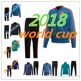 Wholesale Fly Sets - Top quality 2018 world cup Spain Soccer jacket TRAINING SUIT 2018 Belgium Argentina OZIL MULLER soccer jacket kit TRACKSUIT SPORTSWEAR set