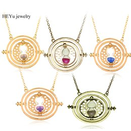 Wholesale hourglass necklaces - Wholesale Hermione Granger Rotating Horcrux Time Turner Necklace Time Converter Hourglass pendant Necklace For Women&Men