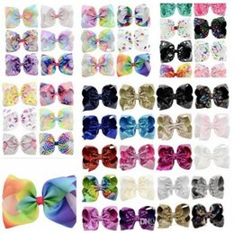 Wholesale Large Rhinestone Hair Barrettes - 8 Inch Rhinestone Hair Bow Jojo Bows With Clip For Baby Children girls Large Sequin Bow Unicorn Bow Mermaid 6 Styles Factory Price