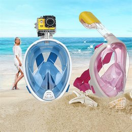 Wholesale Underwater Scuba Cameras - 2018 Summer Underwater Diving Mask Snorkel Set Swimming Training Scuba mergulho full face snorkeling mask Anti Fog No Camera OTH879