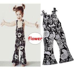 51149eb95484 Baby Girl black Jumpsuit INS Kids girl flower print Romper Children  Sleeveless bodysuit Outwear 5size for 2-7T