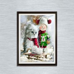 2019 impressionismo pintura a óleo Adorável 30 * 30 cm Gato Crianças Completa 5D Pintura Diamante Kit Decoración Del Hog Decoração Da Casa Arte Da Parede Suprimentos De Artesanato De Diamante