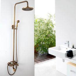 Wholesale wall mounted handheld shower set - FreeShipping Luxury NEW Antique Brass Rainfall Shower Set Faucet + Tub Mixer Tap + Handheld Shower Wall Mounted GZ-6005
